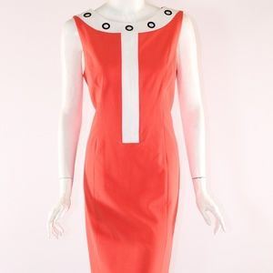 Nine West Size 10 Orange/White Dress